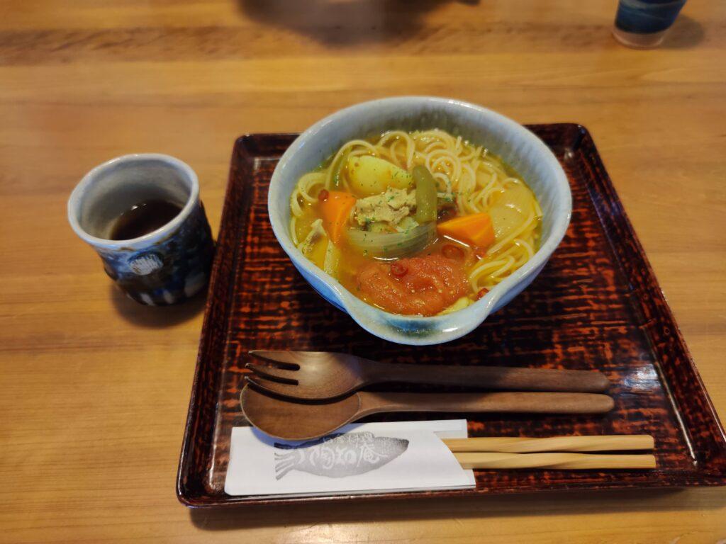 ビルマ汁のスープパスタ